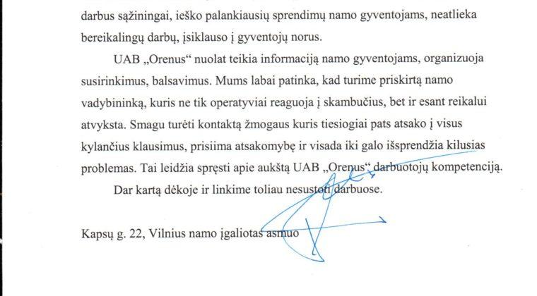 """Padėkos raštas įmonei UAB ,,Orenus"""" nuo administruojamo daugiabučio namo gyventojų"""